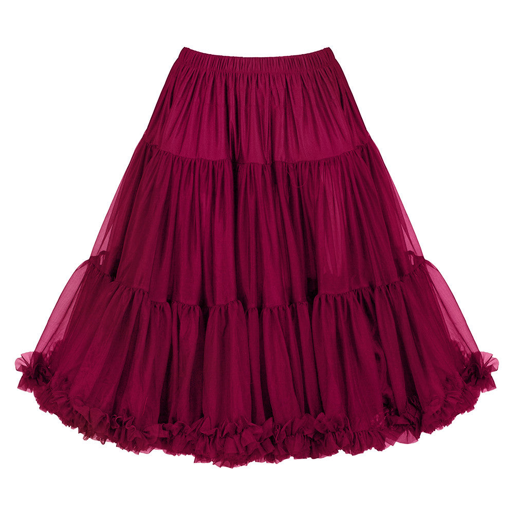 EXTRA VOLUME Bordeaux Wine Red Net Vintage Rockabilly 50s Petticoat Skirt