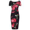Black red Rose Floral Print Cap Sleeve Bodycon Wiggle Pencil Dress - Pretty Kitty Fashion