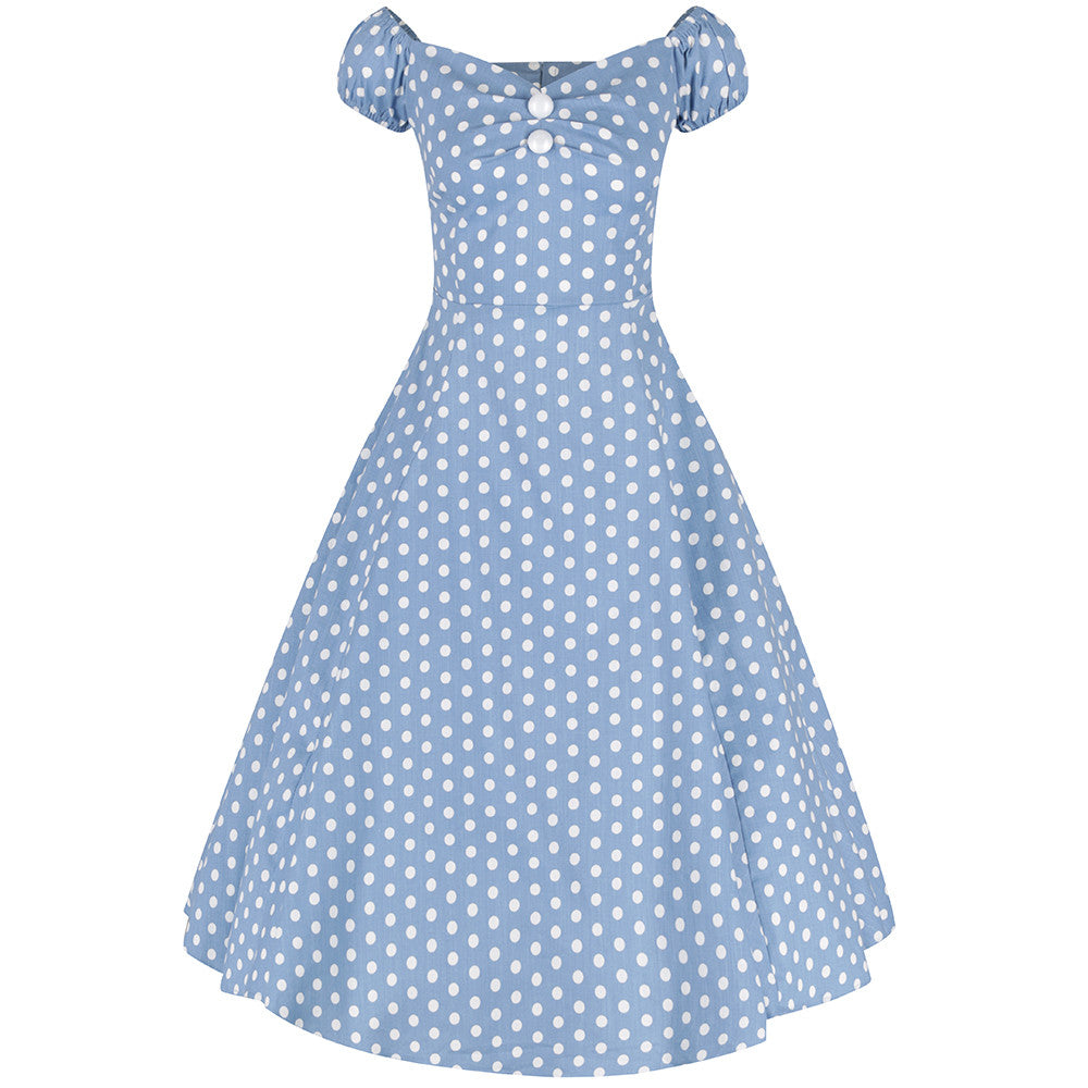 e54461c5fc695 Collectif Vintage Dusky Blue and White Polka Dot Swing Dress - Pretty Kitty  Fashion