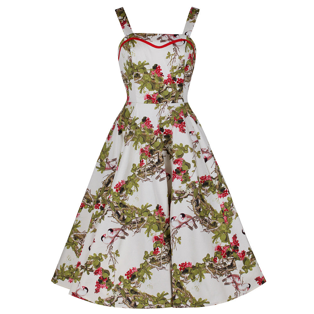 d51944a02d0a Ivory White Floral and Bird Print Rockabilly 50s Swing Dress