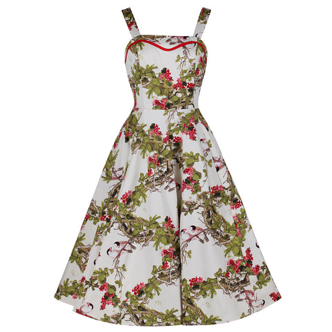 Ivory White Floral and Bird Print Rockabilly 50s Swing Dress