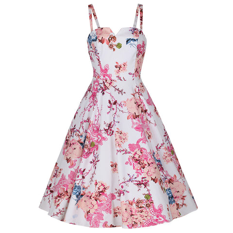 White and Pink Floral Sleeveless Summer Rockabilly 50s Swing Dress