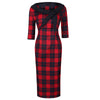 Red and Black Check 3/4 Sleeve Bow Neck 40s Wiggle Dress - Pretty Kitty Fashion