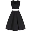 Vintage Black White Waistband 50s Swing Dress - Pretty Kitty Fashion
