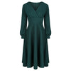 Forest Green Long Sleeve A Line Vintage Crossover Tea Swing Dress