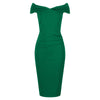 Emerald Green Cap Sleeve Crossover Top Bardot Wiggle Dress - Pretty Kitty Fashion