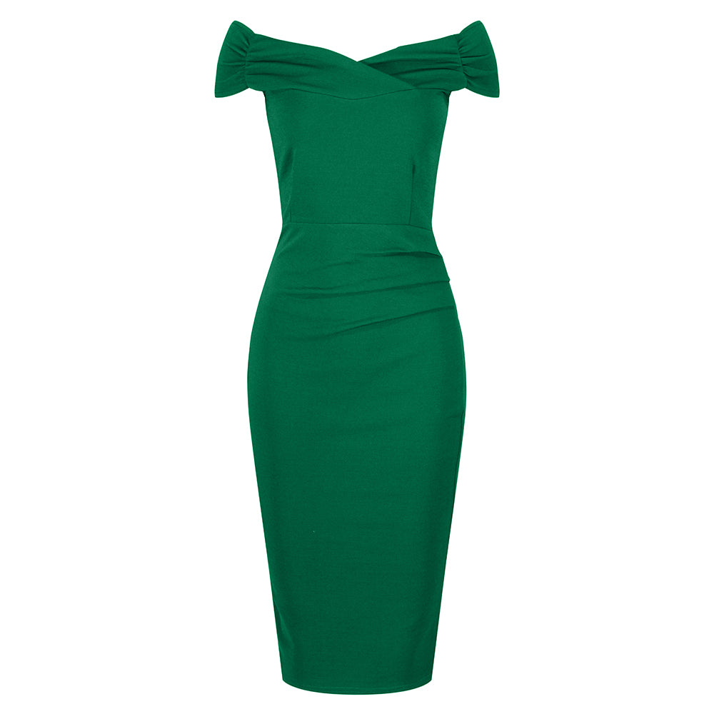ae313c392d8b Emerald Green Cap Sleeve Crossover Top Bardot Wiggle Dress - Pretty ...