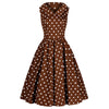 Chocolate Brown and White Polka Dot Rockabilly 50s Swing Tea Dress - Pretty Kitty Fashion