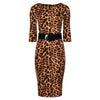 Leopard Print 3/4 Sleeve Belted Bodycon Pencil Wiggle Dress