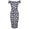 Navy Floral Polka Dot Cap Sleeve Crossover Top Bardot Wiggle Dress - Pretty Kitty Fashion