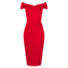 Red Cap Sleeve Crossover Top Bardot Wiggle Dress - Pretty Kitty Fashion