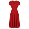 Red Vintage A Line Crossover Capped Sleeve Tea Swing Dress - Pretty Kitty Fashion