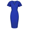 Royal Blue Half Sleeve Deep V Neck Crossover Top Wiggle Dress - Pretty Kitty Fashion