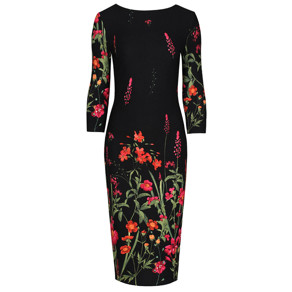 Stunning Black Floral Stardust 3//4 Sleeve Vintage Swing Party Occasion Dress
