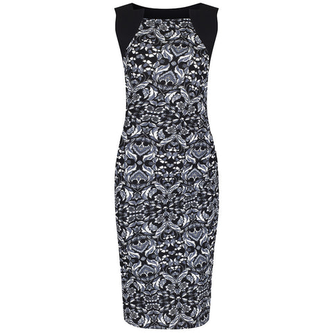 Black Paisley Print Wiggle Pencil Dress - Pretty Kitty Fashion