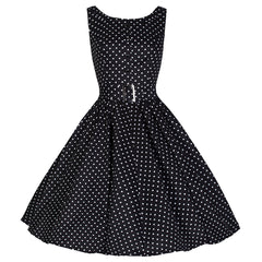 Black White Polka Dot Audrey Swing Dress