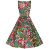 Green Pink Vintage Floral Blossom Rockabilly Swing - Pretty Kitty Fashion