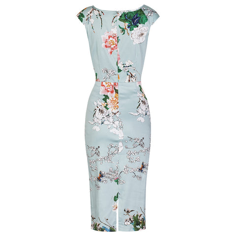 Aqua Green Floral Print Wiggle Pencil Dress - Pretty Kitty Fashion