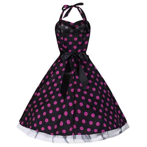 50s Large Purple Polka Dot Black Rockabilly Swing Prom Pin-Up Dress - Pretty Kitty Fashion