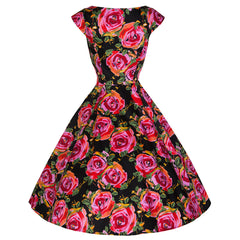 Pretty Kitty Rose Floral Cut Out 50s Dress