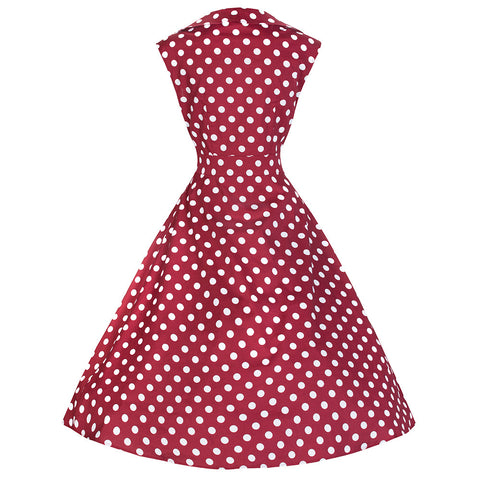 Pretty Kitty Burgundy Red White Polka Dot Bow Swing Dress