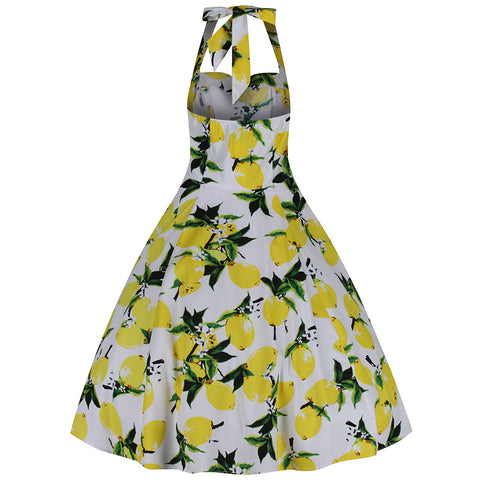 White and Lemon Yellow Halterneck Swing Dress