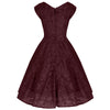Jolie Moi Wine Red Embroidered Lace Sweetheart Neck 50s Swing Dress - Pretty Kitty Fashion