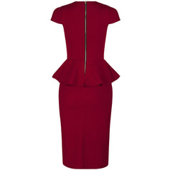 Red Peplum Bodycon Pencil Dress