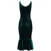 Emerald Green Velour Sleeveless Peplum Hem V Neck Wiggle Dress - Pretty Kitty Fashion