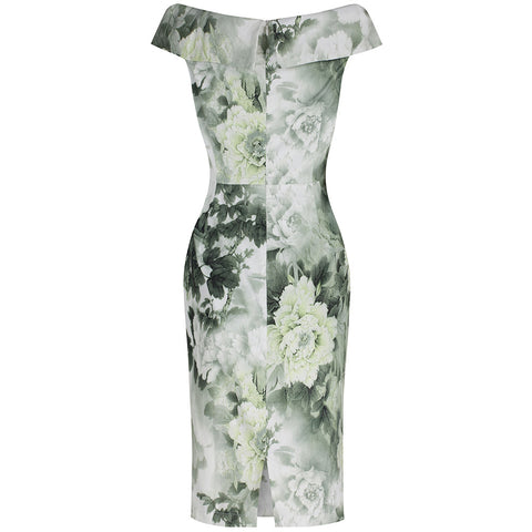 Green Floral Bardot Wiggle Pencil Dress - Pretty Kitty Fashion