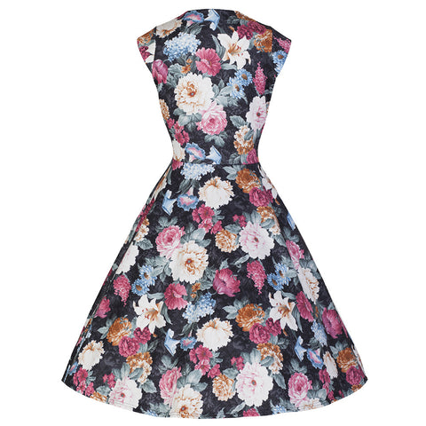 Multi Floral Vintage Swing Dress - Pretty Kitty Fashion