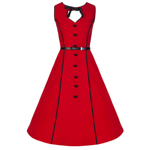 Red Button Front Swing Dress