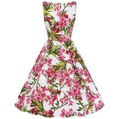White and Pink Floral Sleeveless Rockabilly Dress
