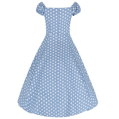 Collectif Vintage Dusky Blue and White Polka Dot Swing Dress