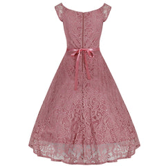 Vintage Pink Lace Embroidered Belted Swing Dress