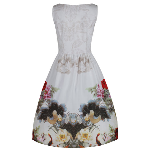 Ivory White Summer Floral Vintage 50s Swing Dress