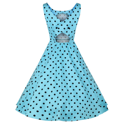 Sky Blue Polka Dot Vintage Pinup 50s Swing Dress