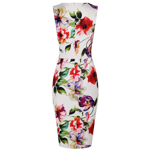 Ivory Multi Floral Bodycon Pencil Dress
