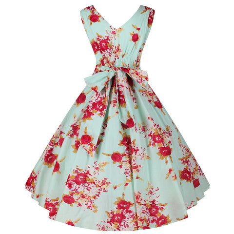 Mint Green Floral Cotton Swing Dress