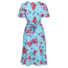 Light Blue Floral Split Sleeve Retro Swing Dress - Pretty Kitty Fashion