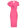 Rose Pink Asymmetric Frill Overlay Bodycon Wiggle Pencil Dress - Pretty Kitty Fashion