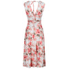 White Coral Pink Floral V Neck Crossover Top Empire Waist Swing Dress
