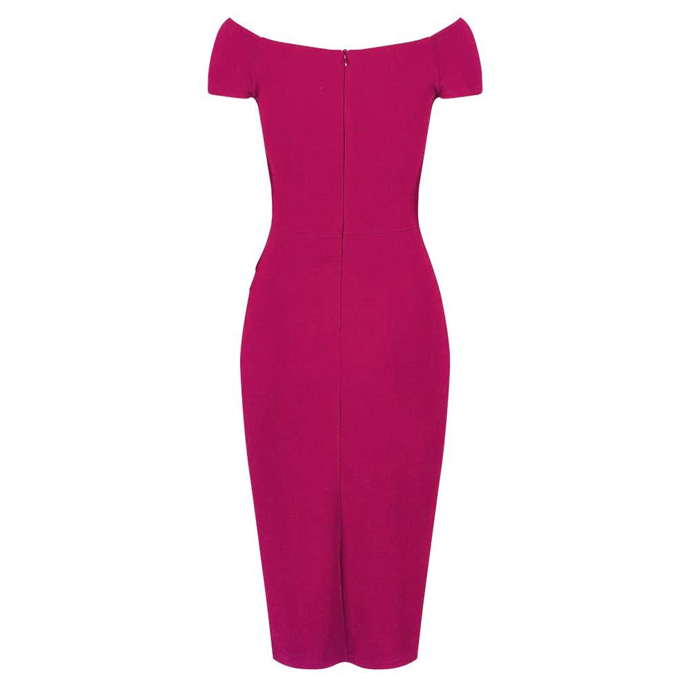 7c82d6887 Magenta Pink Cap Sleeve Crossover Top Bardot Wiggle Dress