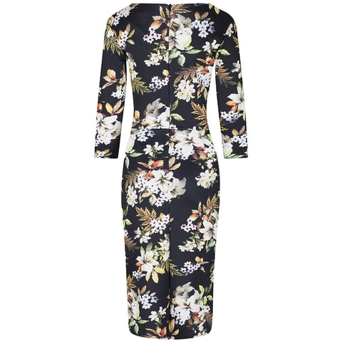 Black Floral 3/4 Sleeve Wiggle Pencil Dress