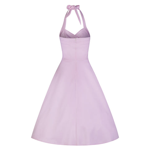 Pastel Pink Halterneck Swing Dress