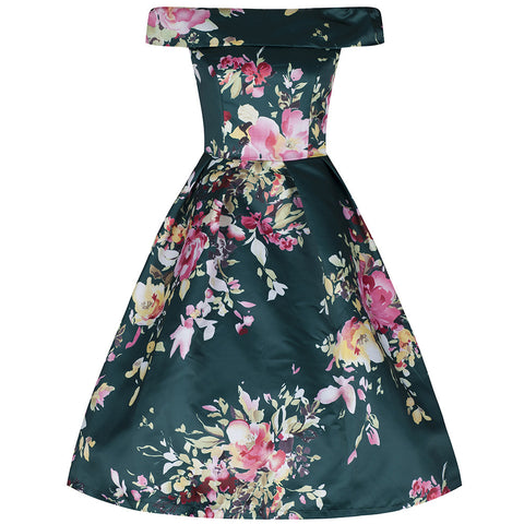 Green Bardot Neck Floral Swing Dress