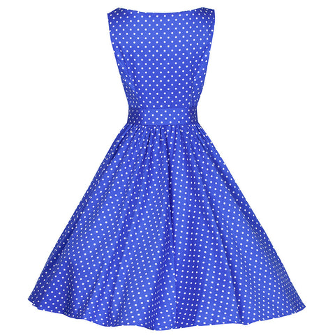 Blue polka dot Audrey button front Swing Dress - Pretty Kitty Fashion