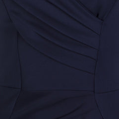 Navy Blue Capped Sleeve Bodycon Wiggle Dress