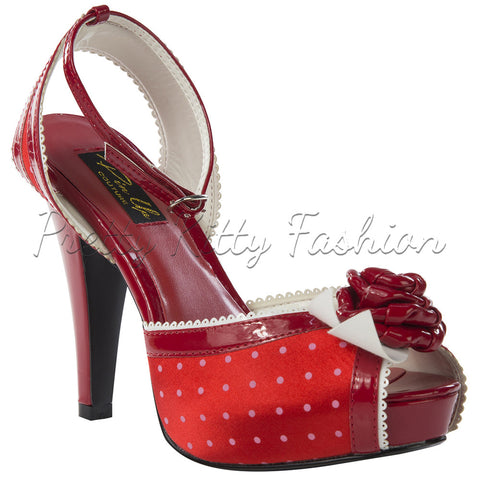 Pin Up Couture Red Polka Dot Open Toe Ankle Strap High Heels