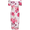 Light Pink Rose Floral Print Cap Sleeve Summer Bodycon Wiggle Pencil Dress - Pretty Kitty Fashion